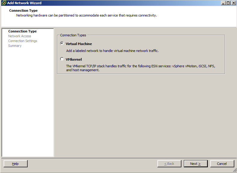 VMware - Add Network Wizard